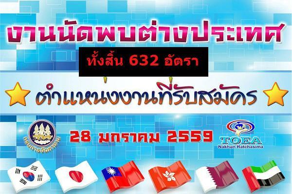 ตำแหน่งงาน 632 อัตรา จำนวน 6 บริษัท งานนัดพบแรงงานต่างประเทศ 28 มกราคม 2559