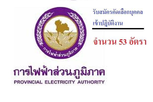 การไฟฟ้าส่วนภูมิภาค รับสมัครคัดเลือกบุคคลเข้าปฎิบัติงาน 53 อัตรา