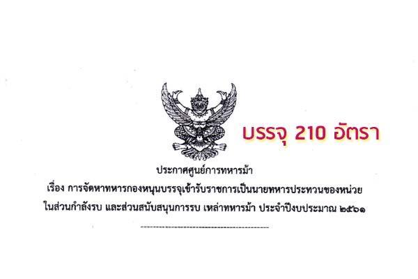 ศูนย์การทหารม้าเปิดสมัครสอบบรรจุเข้ารับราชการ 210 อัตรา รับสมัคร 25 - 31 มกราคม 2561