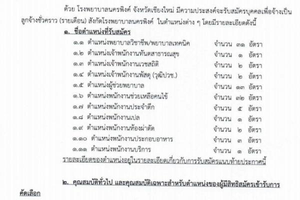 ( 93 อัตรา ) โรงพยาบาลนครพิงค์ รับสมัครบุคคลเพื่อสอบคัดเลือกเพื่อจ้างบุคคลเป็นลูกจ้างชั่วคราว จำนวน 11 ตำแหน