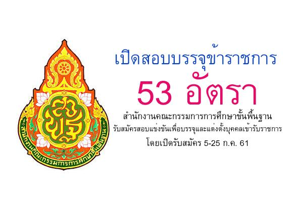สำนักงานคณะกรรมการการศึกษาขั้นพื้นฐาน เปิดสอบบรรจุข้าราชการ 53 อัตรา รับสมัคร 5-25 ก.ค. 61