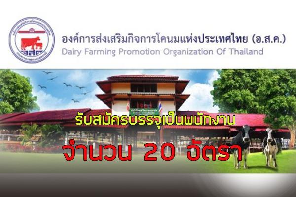 องค์การส่งเสริมกิจการโคนมแห่งประเทศไทย รับสมัครบรรจุเป็นพนักงาน 20 อัตรา