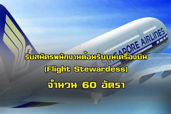 สิงคโปร์แอร์ไลน์ รับสมัครพนักงานต้อนรับบนเครื่องบิน  (Flight Stewardess) จำนวน 60 อัตรา
