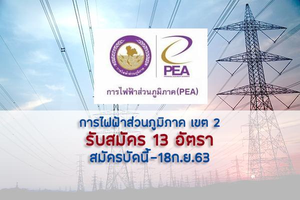การไฟฟ้าส่วนภูมิภาค เขต 2 รับสมัครคัดเลือกเพื่อเข้าปฏิบัติงาน 13 อัตรา สมัครบัดนี้-18ก.ย.63