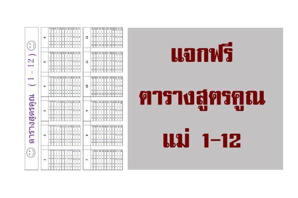 ตารางแม่สูตรคูณ 1 - 12 แจกฟรี V1