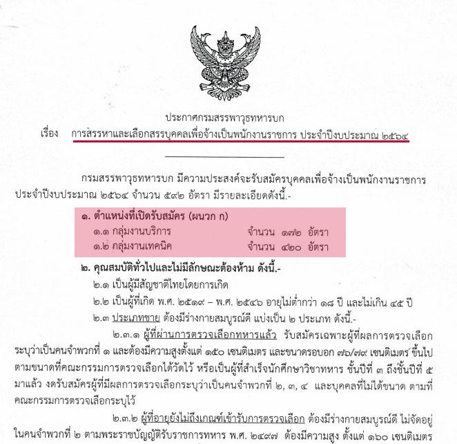 กรมสรรพาวุธทหารบก เปิดรับสมัครสอบเพื่อเป็นพนักงานราชการ 592 อัตรา